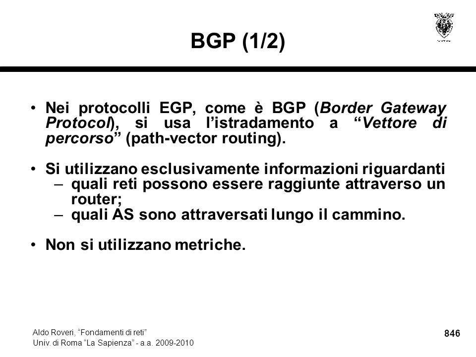 846 Aldo Roveri, Fondamenti di reti Univ. di Roma La Sapienza - a.a.