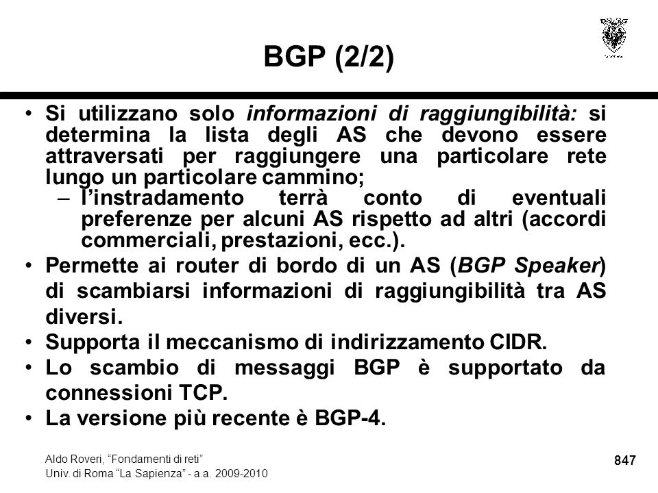 847 Aldo Roveri, Fondamenti di reti Univ. di Roma La Sapienza - a.a.