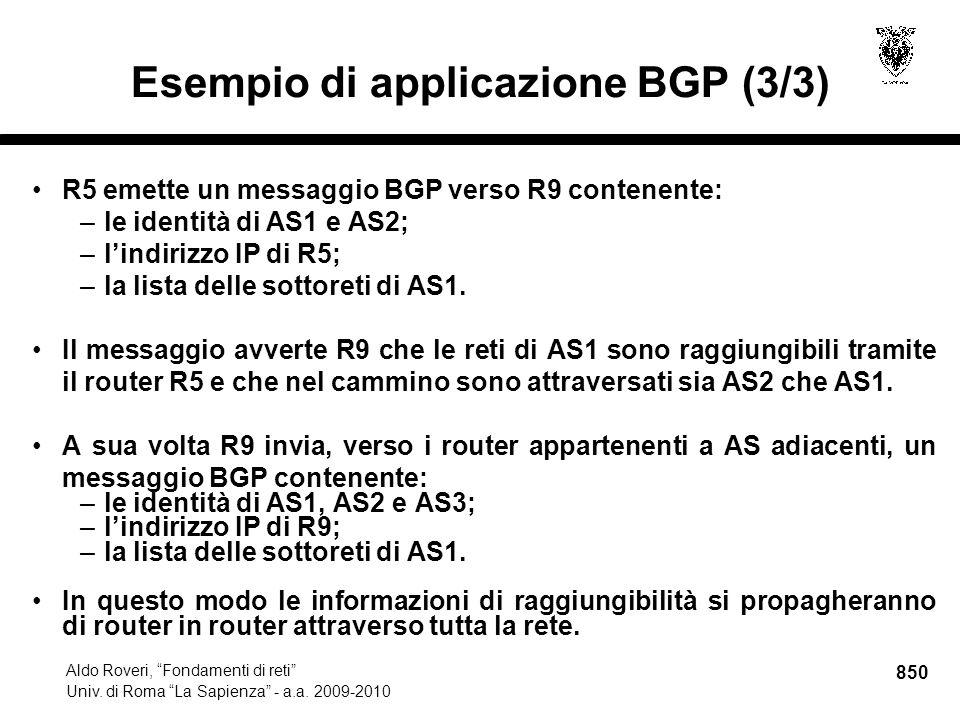 850 Aldo Roveri, Fondamenti di reti Univ. di Roma La Sapienza - a.a.