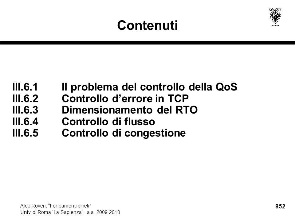 852 Aldo Roveri, Fondamenti di reti Univ. di Roma La Sapienza - a.a.
