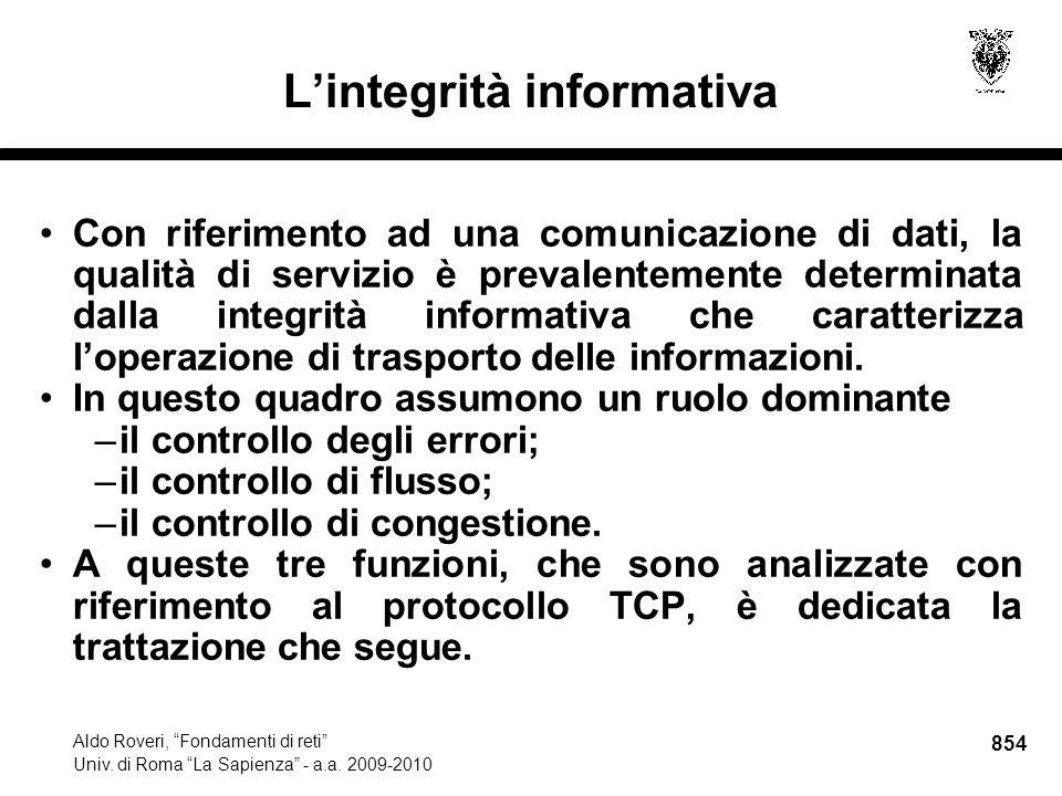 854 Aldo Roveri, Fondamenti di reti Univ. di Roma La Sapienza - a.a.