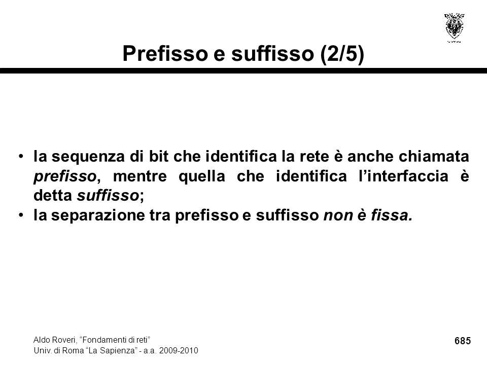 685 Aldo Roveri, Fondamenti di reti Univ. di Roma La Sapienza - a.a.