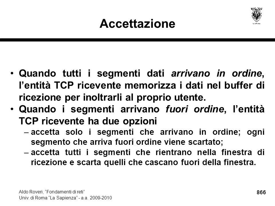 866 Aldo Roveri, Fondamenti di reti Univ. di Roma La Sapienza - a.a.