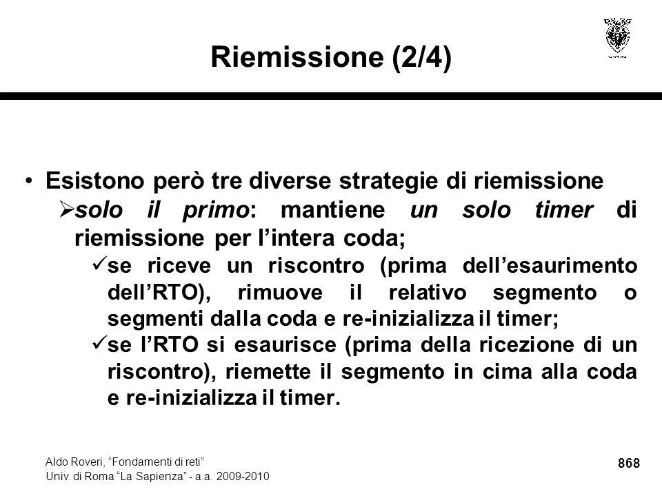 868 Aldo Roveri, Fondamenti di reti Univ. di Roma La Sapienza - a.a.