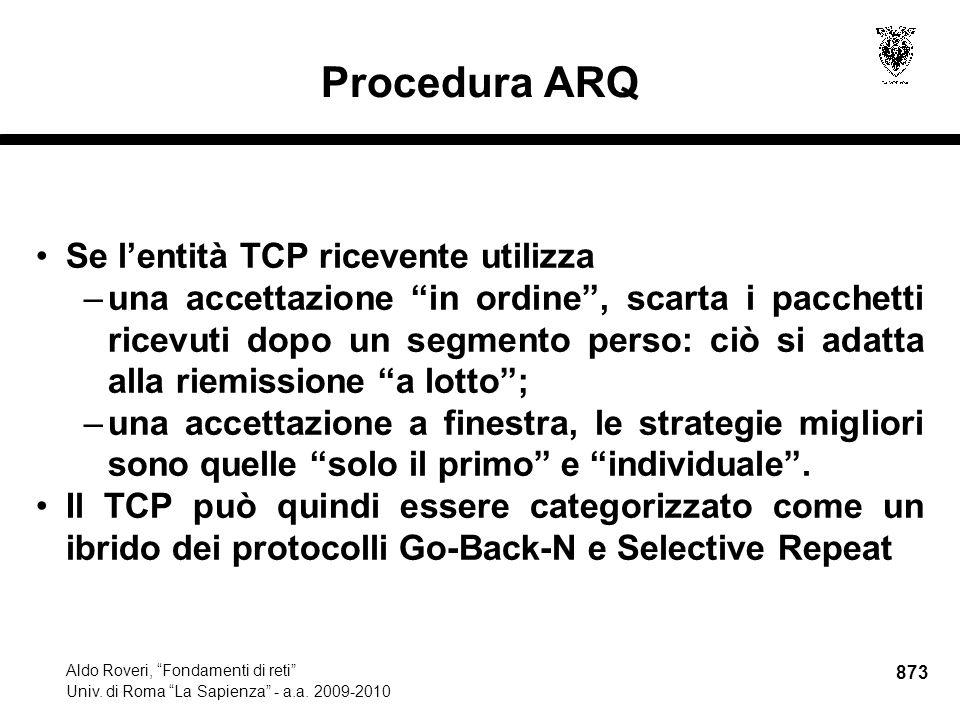 873 Aldo Roveri, Fondamenti di reti Univ. di Roma La Sapienza - a.a.