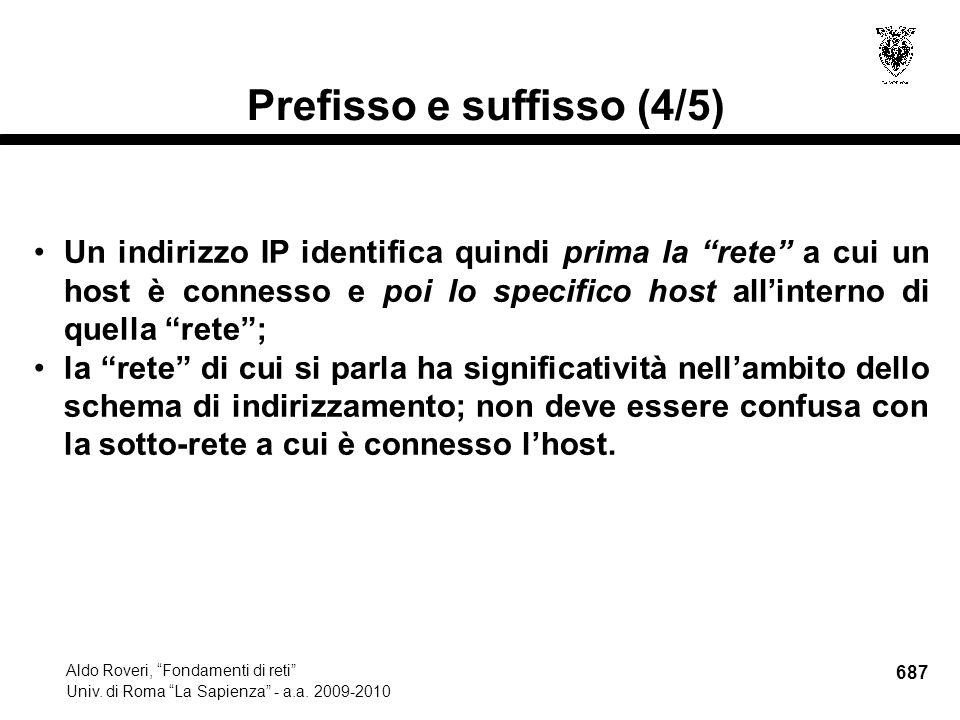 687 Aldo Roveri, Fondamenti di reti Univ. di Roma La Sapienza - a.a.