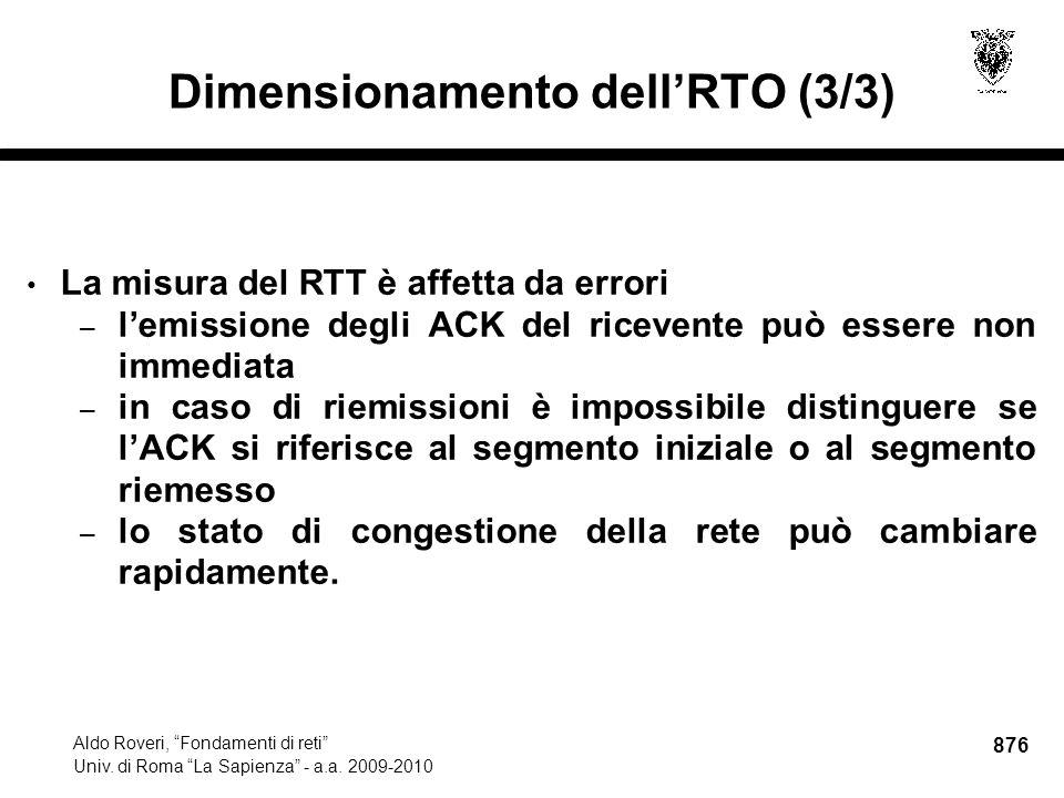 876 Aldo Roveri, Fondamenti di reti Univ. di Roma La Sapienza - a.a.