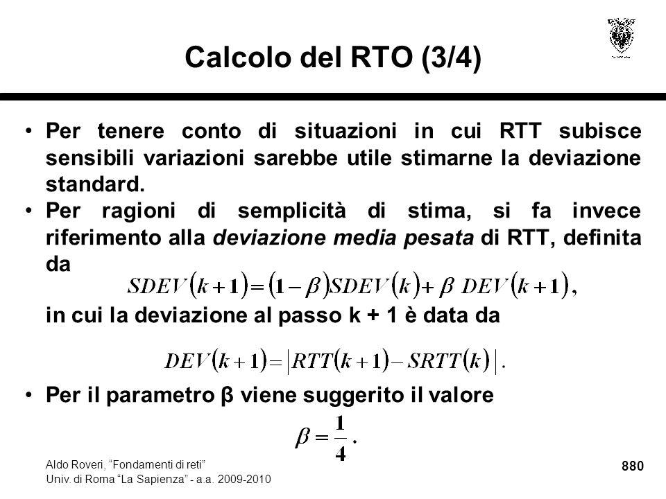 880 Aldo Roveri, Fondamenti di reti Univ. di Roma La Sapienza - a.a.