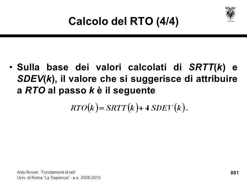 881 Aldo Roveri, Fondamenti di reti Univ. di Roma La Sapienza - a.a.