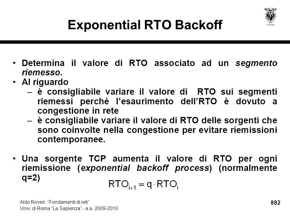 882 Aldo Roveri, Fondamenti di reti Univ. di Roma La Sapienza - a.a.