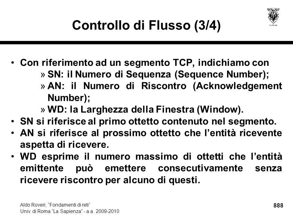 888 Aldo Roveri, Fondamenti di reti Univ. di Roma La Sapienza - a.a.