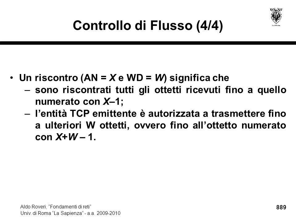 889 Aldo Roveri, Fondamenti di reti Univ. di Roma La Sapienza - a.a.