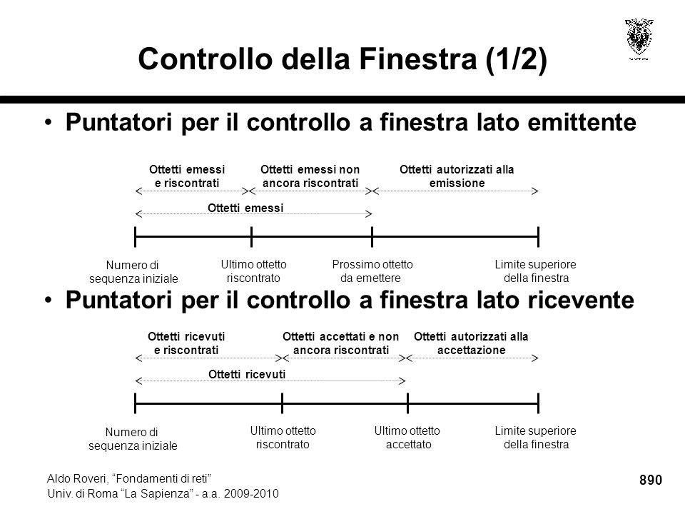 890 Aldo Roveri, Fondamenti di reti Univ. di Roma La Sapienza - a.a.