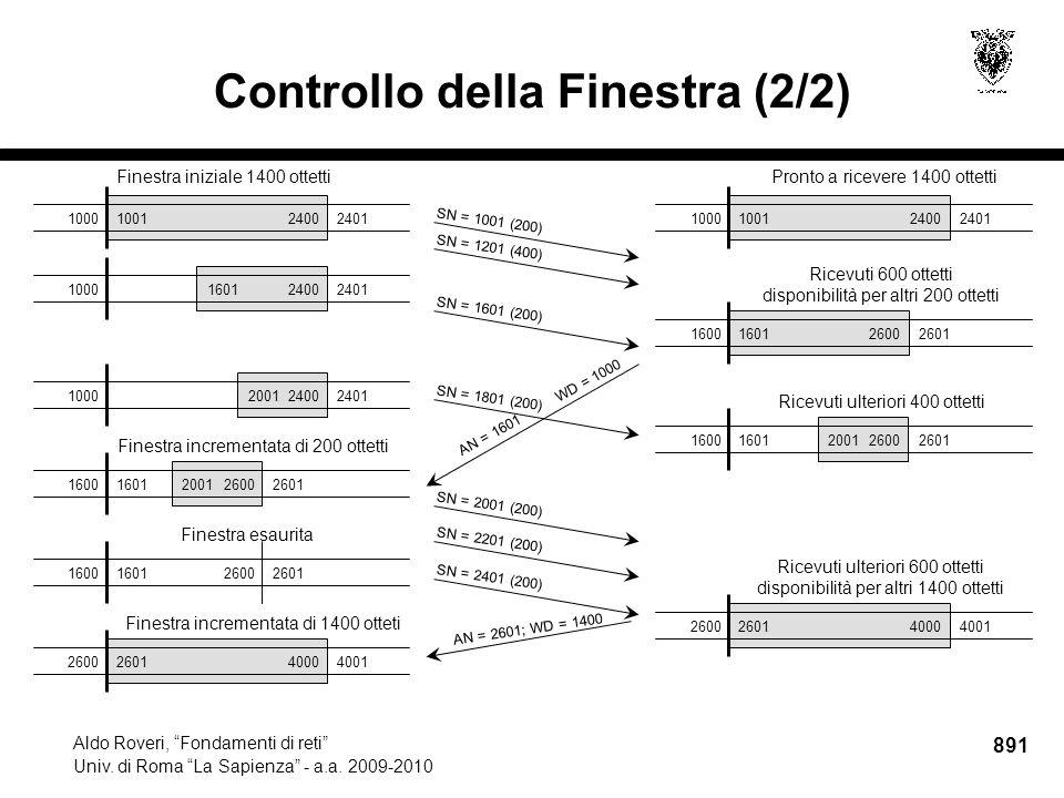 891 Aldo Roveri, Fondamenti di reti Univ. di Roma La Sapienza - a.a.