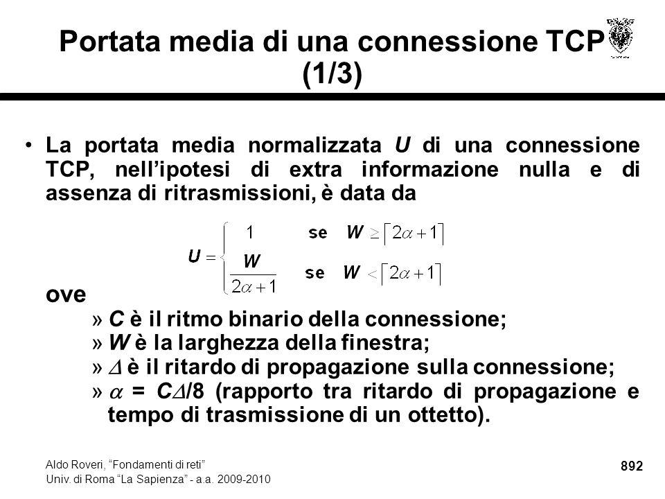 892 Aldo Roveri, Fondamenti di reti Univ. di Roma La Sapienza - a.a.