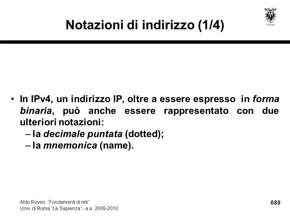 689 Aldo Roveri, Fondamenti di reti Univ. di Roma La Sapienza - a.a.