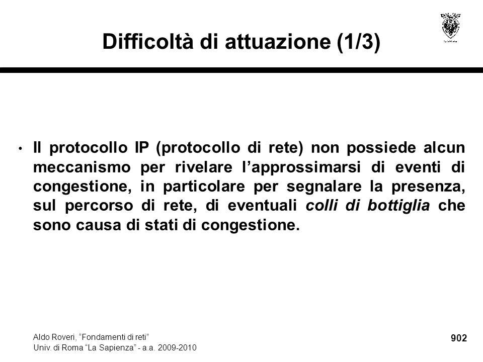 902 Aldo Roveri, Fondamenti di reti Univ. di Roma La Sapienza - a.a.
