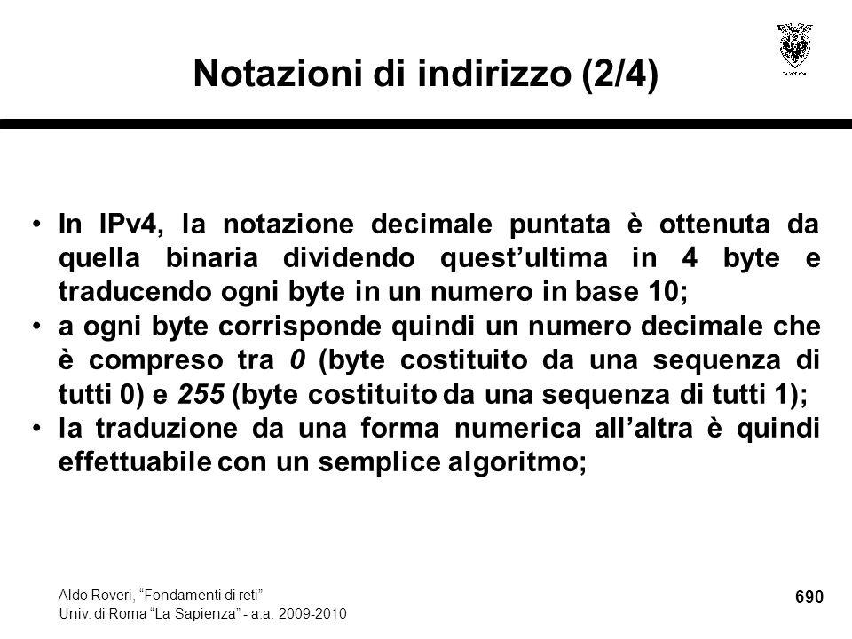 690 Aldo Roveri, Fondamenti di reti Univ. di Roma La Sapienza - a.a.