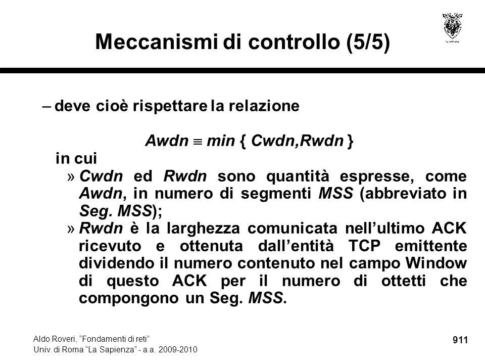 911 Aldo Roveri, Fondamenti di reti Univ. di Roma La Sapienza - a.a.