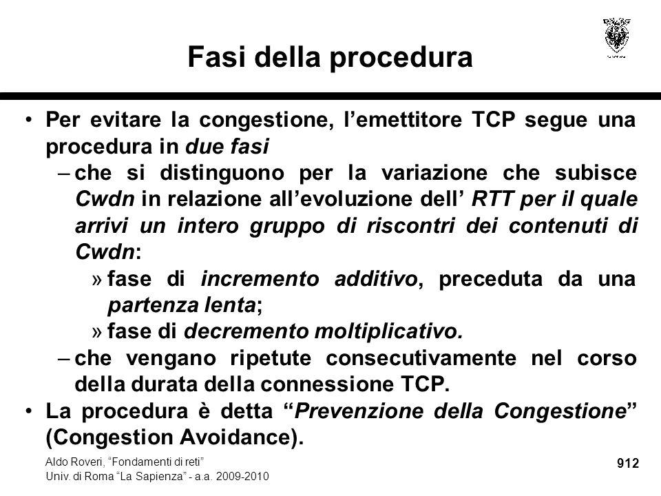 912 Aldo Roveri, Fondamenti di reti Univ. di Roma La Sapienza - a.a.