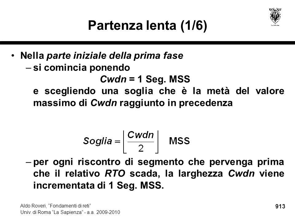 913 Aldo Roveri, Fondamenti di reti Univ. di Roma La Sapienza - a.a.