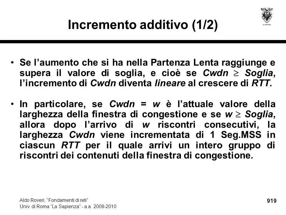 919 Aldo Roveri, Fondamenti di reti Univ. di Roma La Sapienza - a.a.
