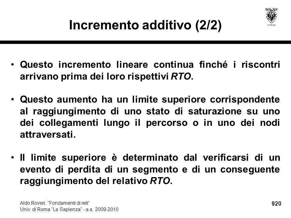 920 Aldo Roveri, Fondamenti di reti Univ. di Roma La Sapienza - a.a.