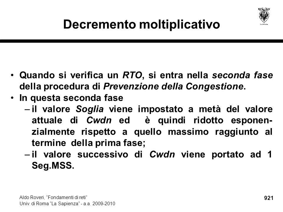 921 Aldo Roveri, Fondamenti di reti Univ. di Roma La Sapienza - a.a.
