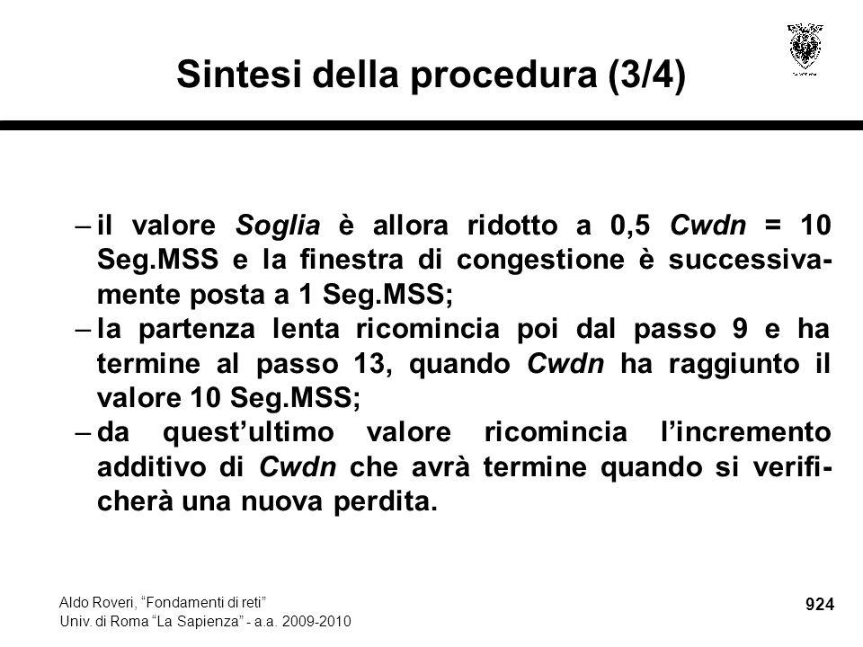 924 Aldo Roveri, Fondamenti di reti Univ. di Roma La Sapienza - a.a.