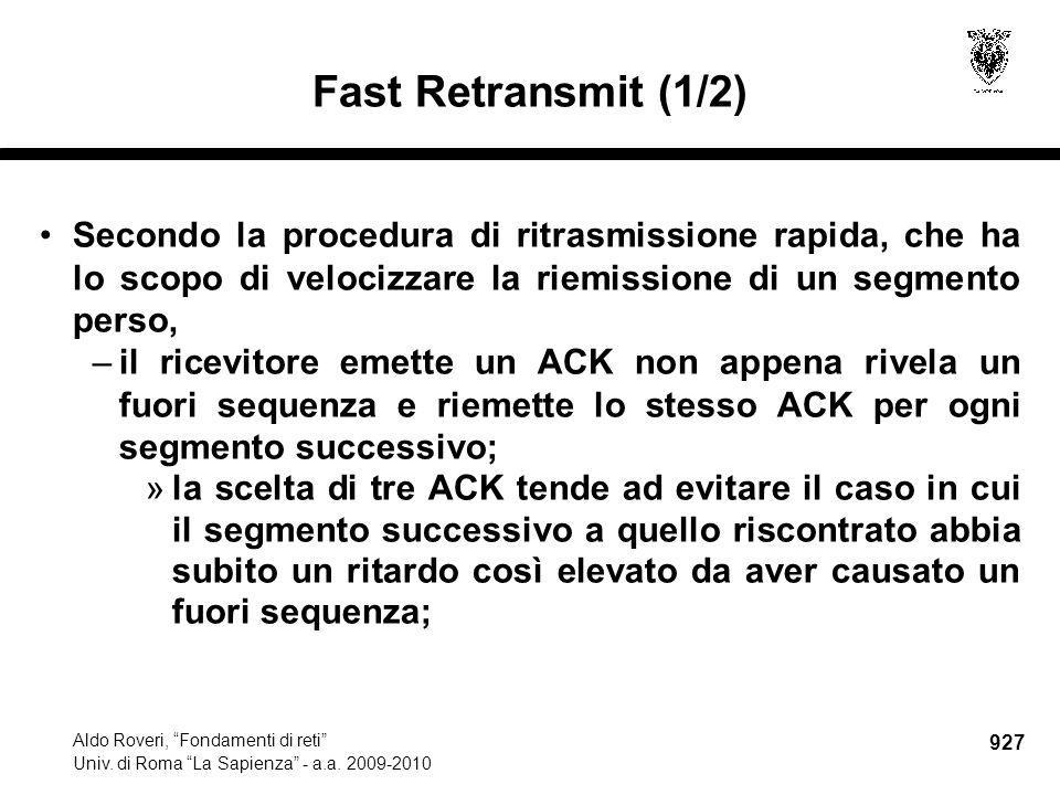 927 Aldo Roveri, Fondamenti di reti Univ. di Roma La Sapienza - a.a.