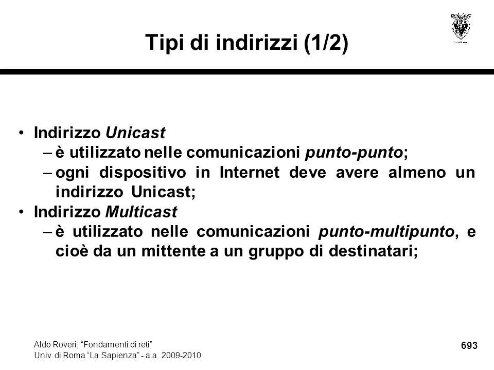 693 Aldo Roveri, Fondamenti di reti Univ. di Roma La Sapienza - a.a.