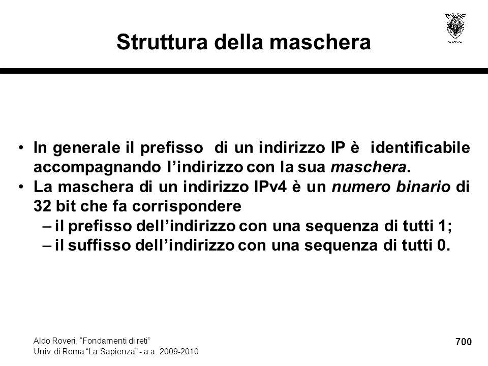 700 Aldo Roveri, Fondamenti di reti Univ. di Roma La Sapienza - a.a.