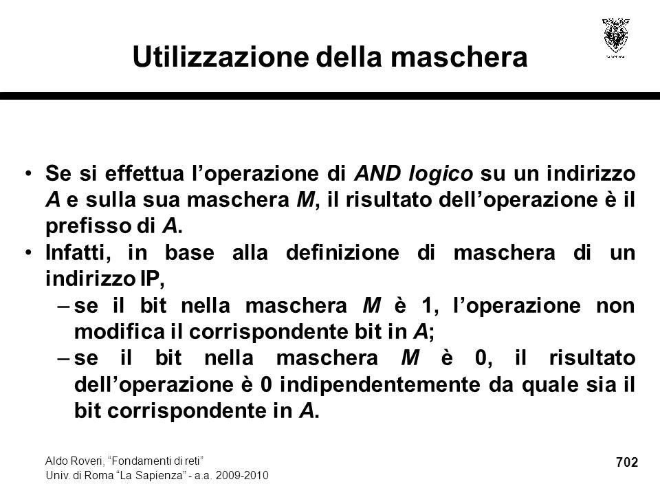 702 Aldo Roveri, Fondamenti di reti Univ. di Roma La Sapienza - a.a.