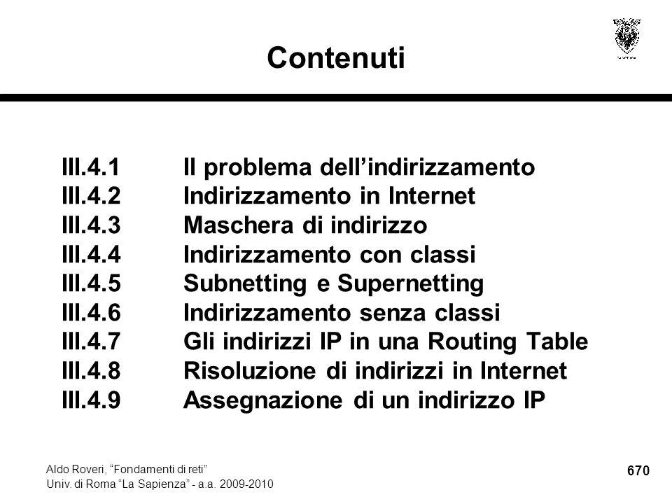 670 Aldo Roveri, Fondamenti di reti Univ. di Roma La Sapienza - a.a.