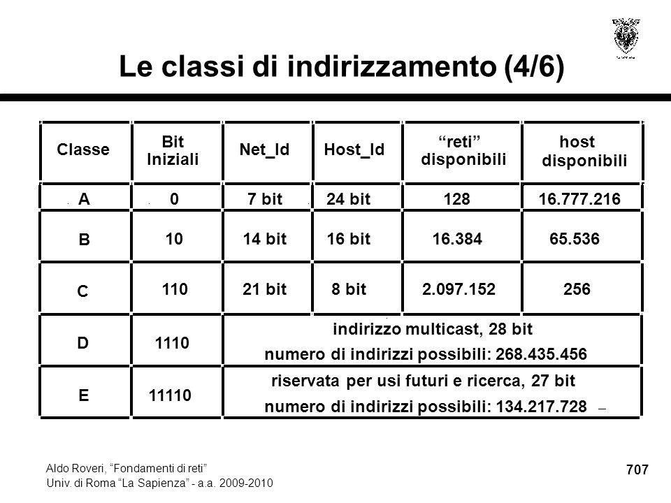707 Aldo Roveri, Fondamenti di reti Univ. di Roma La Sapienza - a.a.