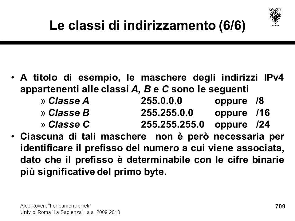 709 Aldo Roveri, Fondamenti di reti Univ. di Roma La Sapienza - a.a.
