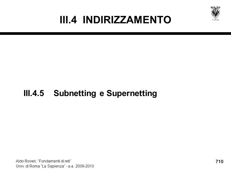 710 Aldo Roveri, Fondamenti di reti Univ. di Roma La Sapienza - a.a.
