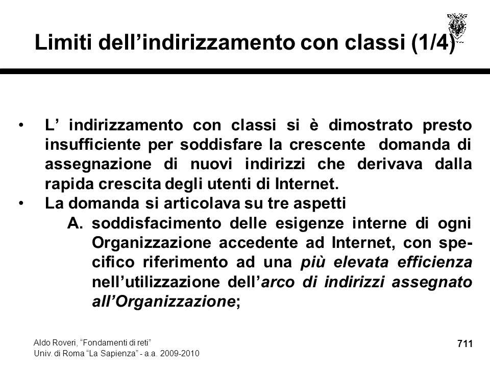 711 Aldo Roveri, Fondamenti di reti Univ. di Roma La Sapienza - a.a.