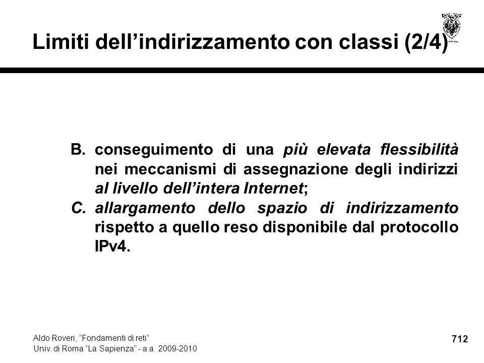 712 Aldo Roveri, Fondamenti di reti Univ. di Roma La Sapienza - a.a.