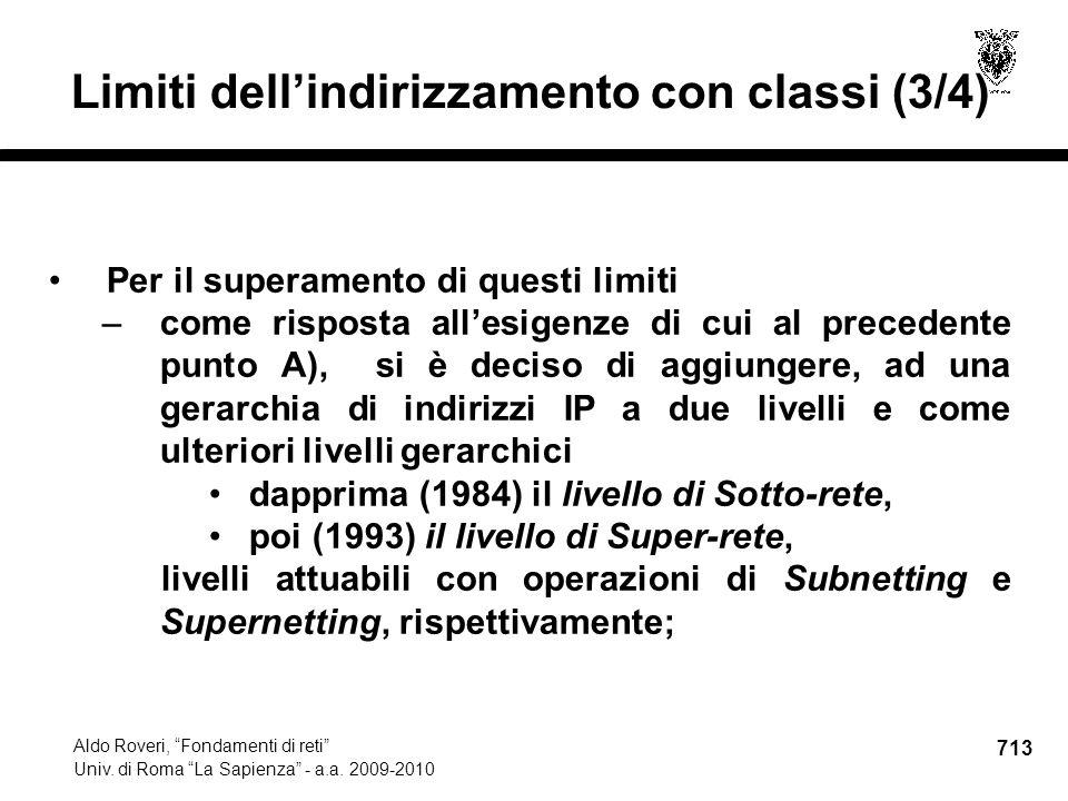 713 Aldo Roveri, Fondamenti di reti Univ. di Roma La Sapienza - a.a.