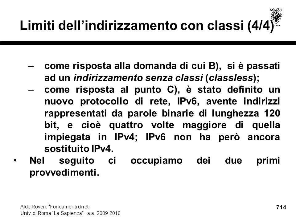 714 Aldo Roveri, Fondamenti di reti Univ. di Roma La Sapienza - a.a.