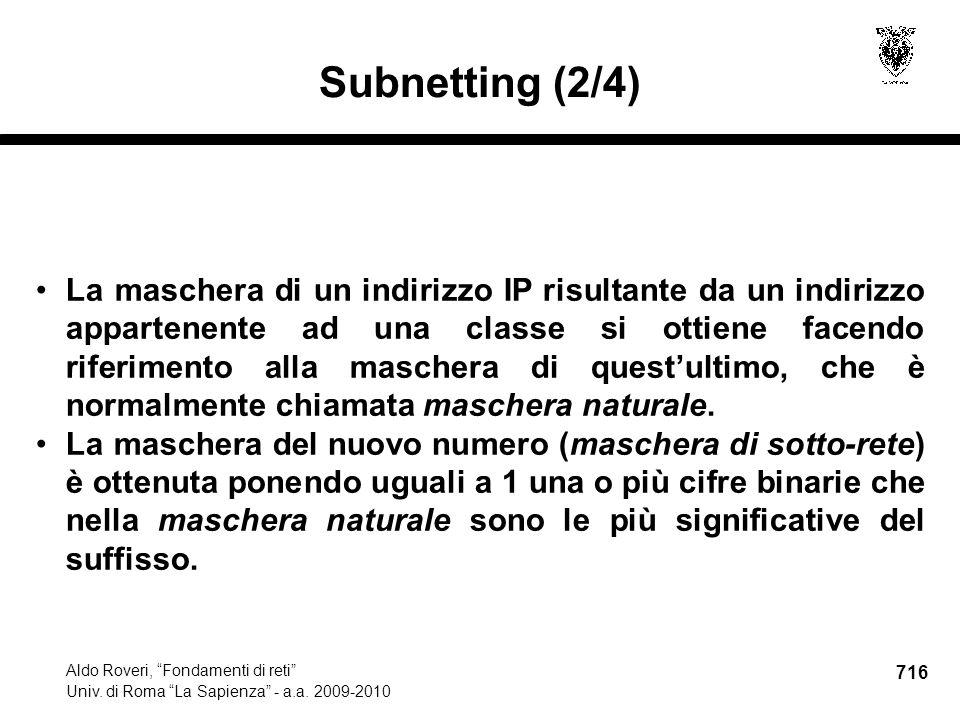 716 Aldo Roveri, Fondamenti di reti Univ. di Roma La Sapienza - a.a.
