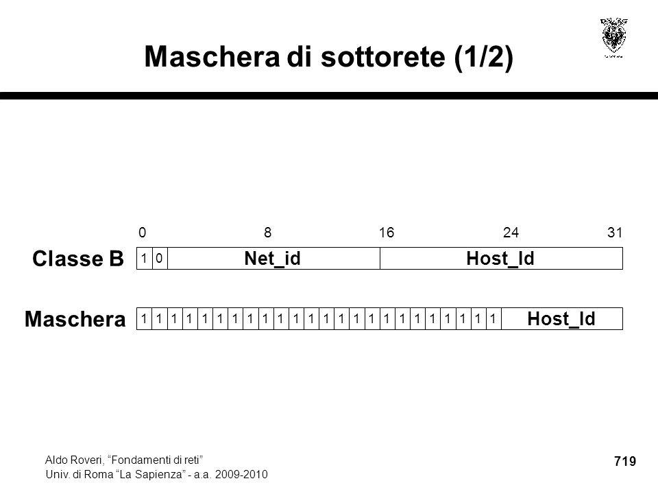 719 Aldo Roveri, Fondamenti di reti Univ. di Roma La Sapienza - a.a.