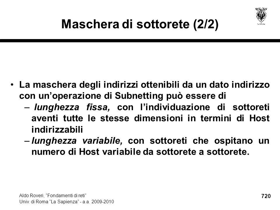 720 Aldo Roveri, Fondamenti di reti Univ. di Roma La Sapienza - a.a.