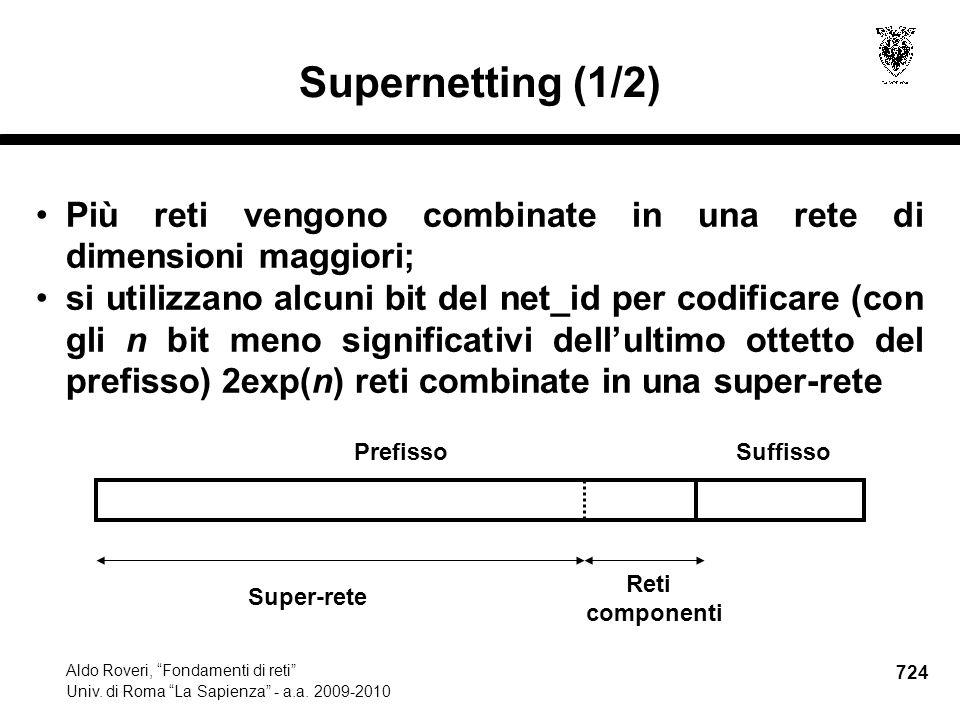 724 Aldo Roveri, Fondamenti di reti Univ. di Roma La Sapienza - a.a.