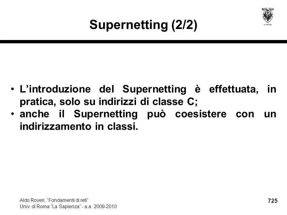 725 Aldo Roveri, Fondamenti di reti Univ. di Roma La Sapienza - a.a.