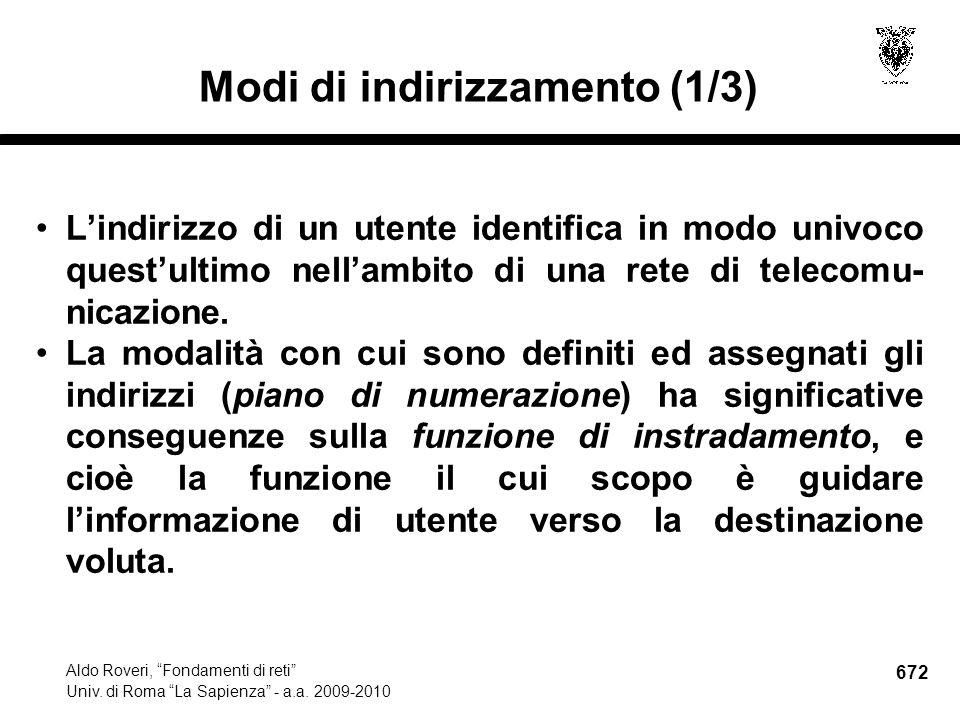 672 Aldo Roveri, Fondamenti di reti Univ. di Roma La Sapienza - a.a.