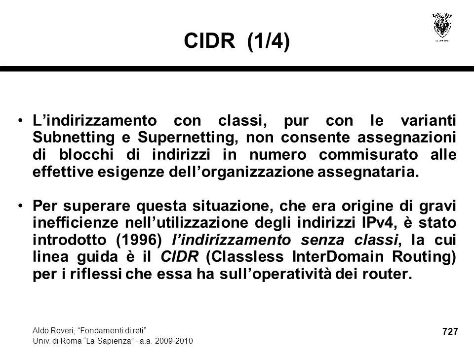 727 Aldo Roveri, Fondamenti di reti Univ. di Roma La Sapienza - a.a.