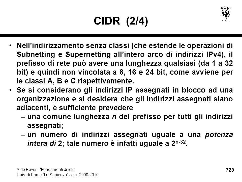 728 Aldo Roveri, Fondamenti di reti Univ. di Roma La Sapienza - a.a.
