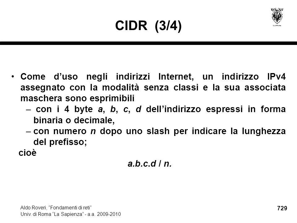 729 Aldo Roveri, Fondamenti di reti Univ. di Roma La Sapienza - a.a.